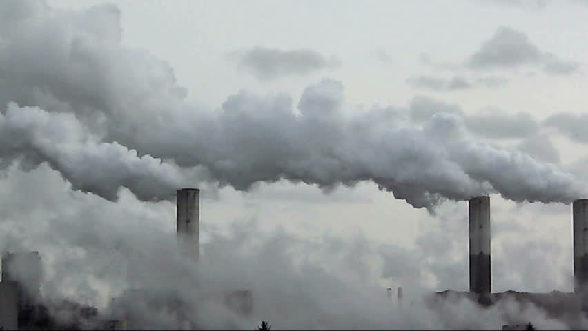 big chimney with grey smoke - HD stock footage clip