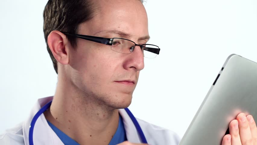 Doctor using tablet computer - HD stock footage clip