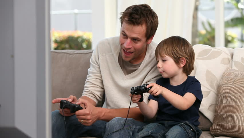 Boy playing with his father - HD stock footage clip