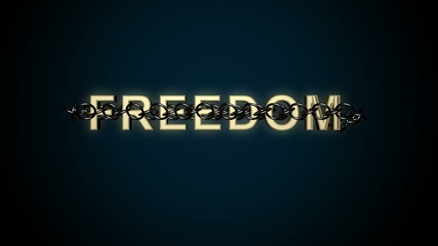 Animated concept of Freedom text breaking free from chains.