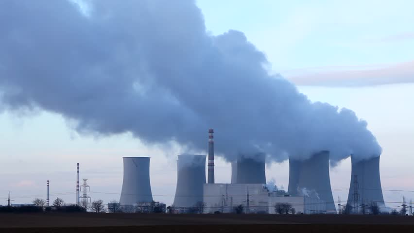 Power plant time lapse, smoke rising - HD stock video clip
