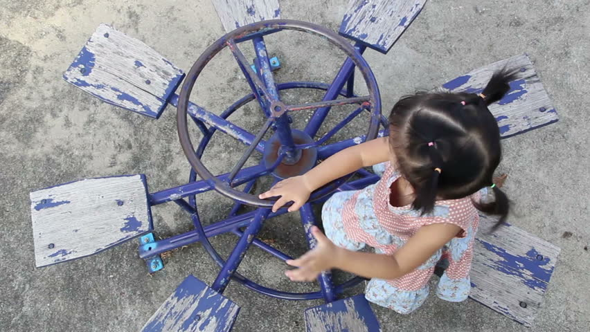 A little asian girl on the playground, Bangkok Thailand  - HD stock footage clip