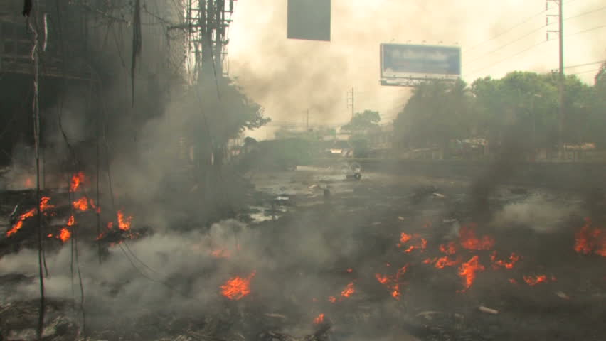 Burning City Street during riots, Bangkok, April 2010 - HD stock footage clip