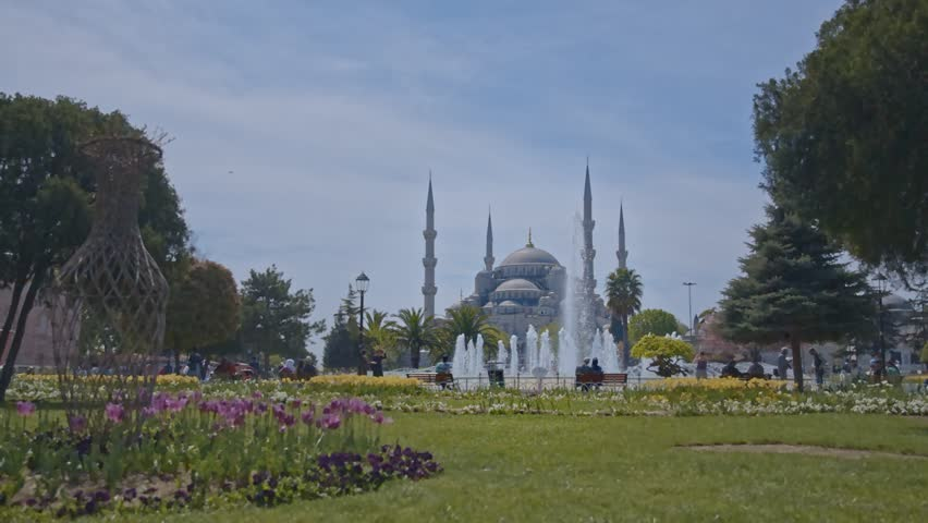 ISTANBUL - JUNE 6, 2014: Blue Mosque at Sultanahmet Square on June 6, 2014 in Istanbul, Turkey - HD stock footage clip