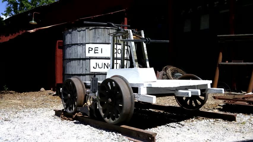 Oakland, California - May, 2015 - UHD footage of a pump trolley handcar.