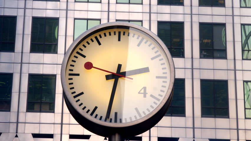 clock in london docklands - HD stock footage clip