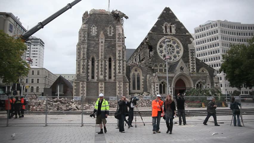 Christchurch New Zealand News: FEB 26: News Crews Shoot The