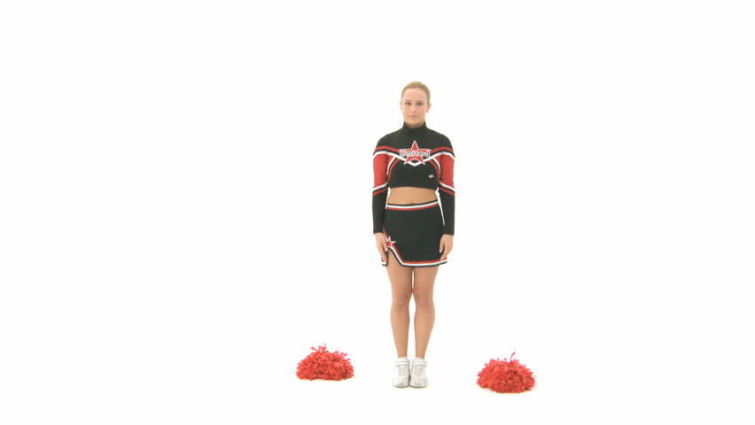 Cheerleader raises her right leg over her head and holds it - HD stock footage clip