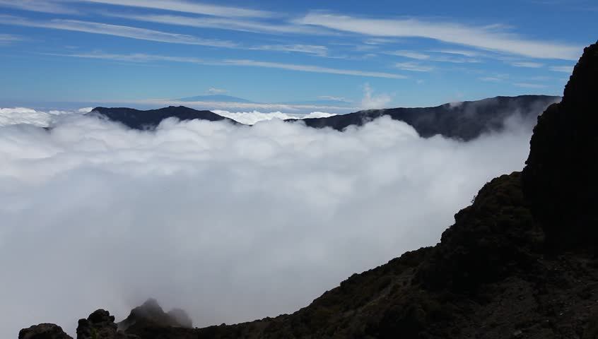Haleakala Crater. Volcano. Leleiwi Lookout. Clouds. - HD stock video clip