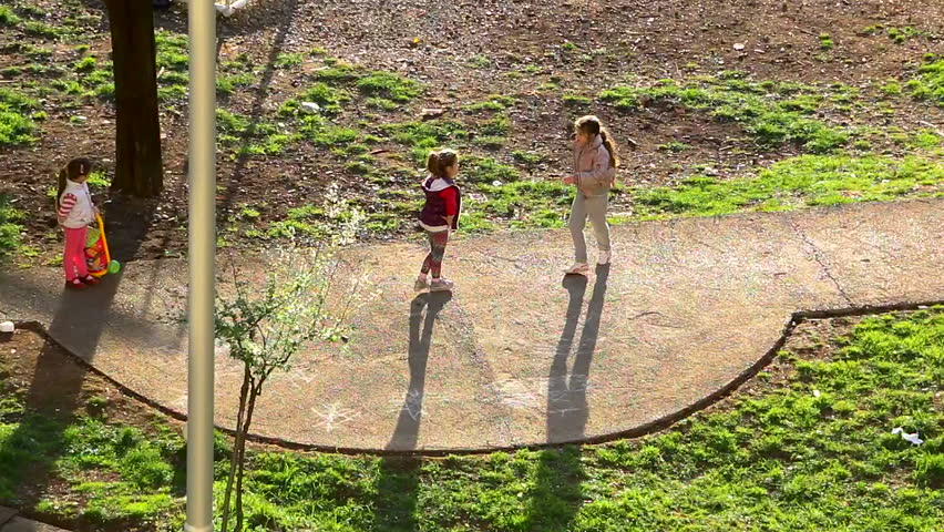 MONTENEGRO - PODGORICA 2015 - Little girls playing on the playground  - HD stock video clip