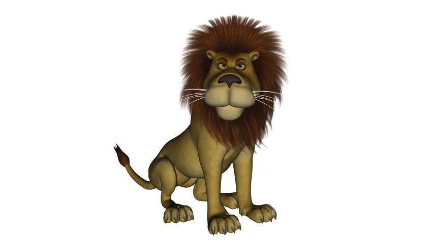 5 seconds long clip of a cartoon lion that is roaring while sitting down. Isolated on white. - HD stock footage clip