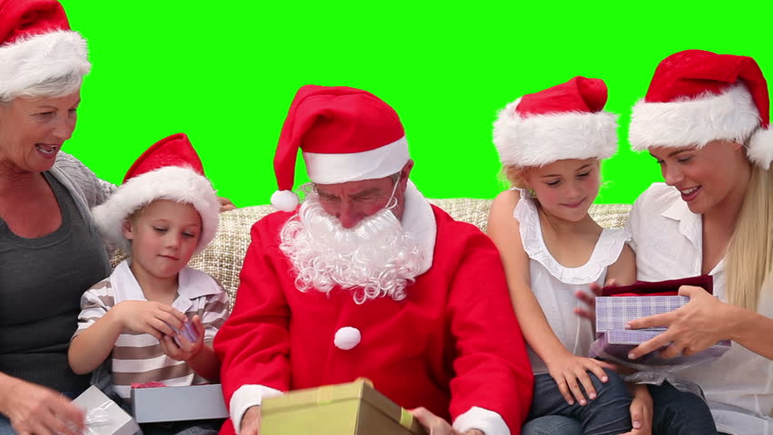 Chromakey footage of Christmas family with Santa Claus   Shutterstock HD Video #1074502