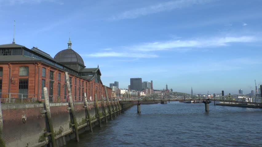 Hamburg - city on the Elbe river / Germany - HD stock video clip