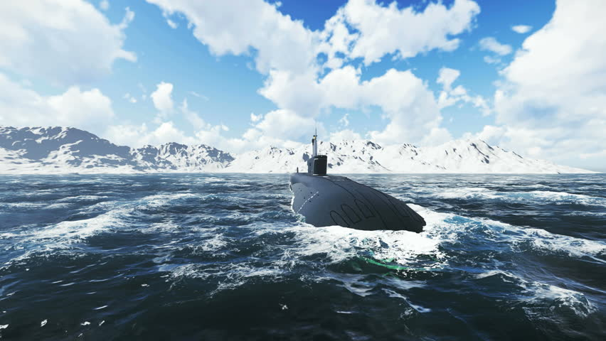 Front close up view of the russian nuclear-powered submarine Borei at sea. Realistic three dimensional animation. - 4K stock footage clip