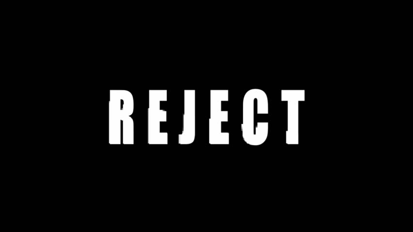 Animation with reject text black backgorund