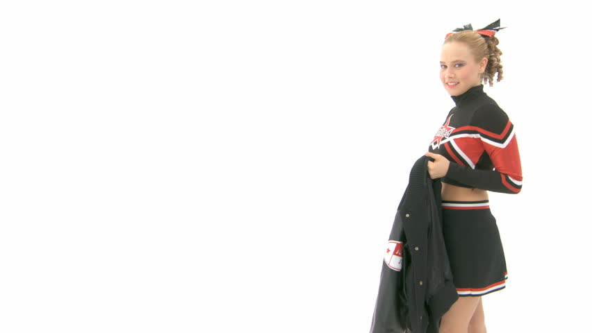 Cheerleader throws jacket over her shoulder and leaves the screen - HD stock footage clip