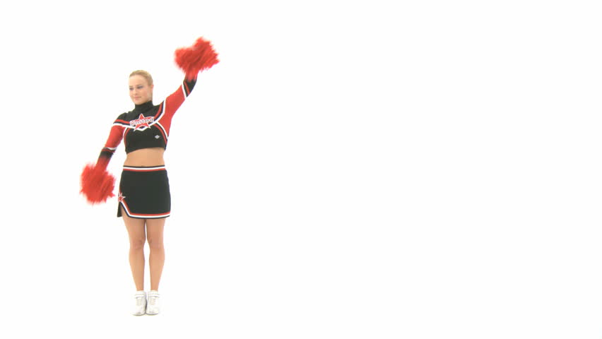 Cheerleader doing a cartwheel and shows poses - HD stock video clip