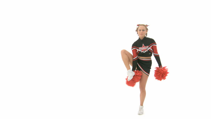 Cheerleader raises her right leg over her head and holds it - HD stock video clip