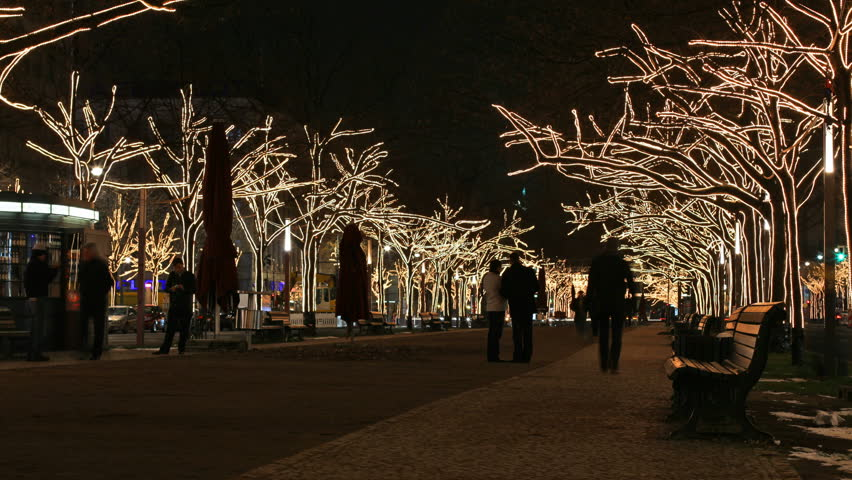 Peoples on boulevard with Christmas tree lights  - HD stock footage clip