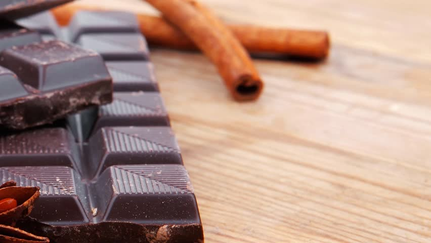 split bar of dark chocolate on wooden table 1920x1080 intro motion slow hidef hd