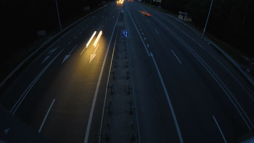 4K timelapse night traffic motion on highway