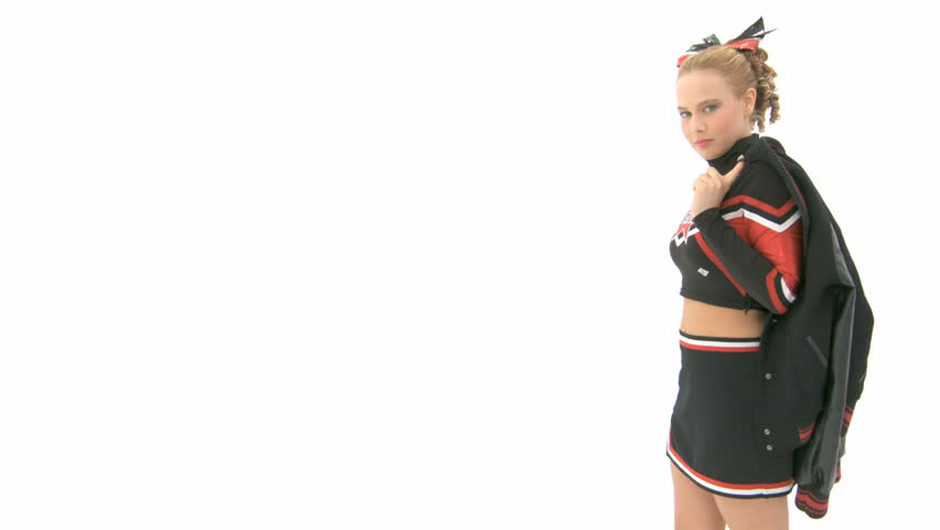 Cheerleader with a college jacket over her shoulder - HD stock video clip
