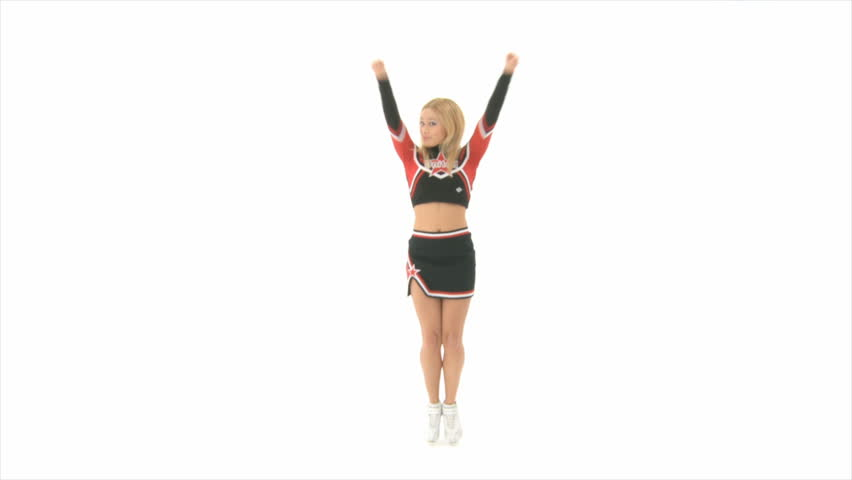 Cheerleader jumps up high Slow Motion - HD stock footage clip