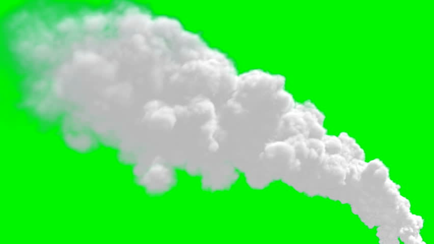 Chimney flow smoke timelapse over green screen