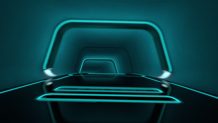 camera flight through a futuristic tunnel with neon light lines in tron look - high quality 3d animation - loopable