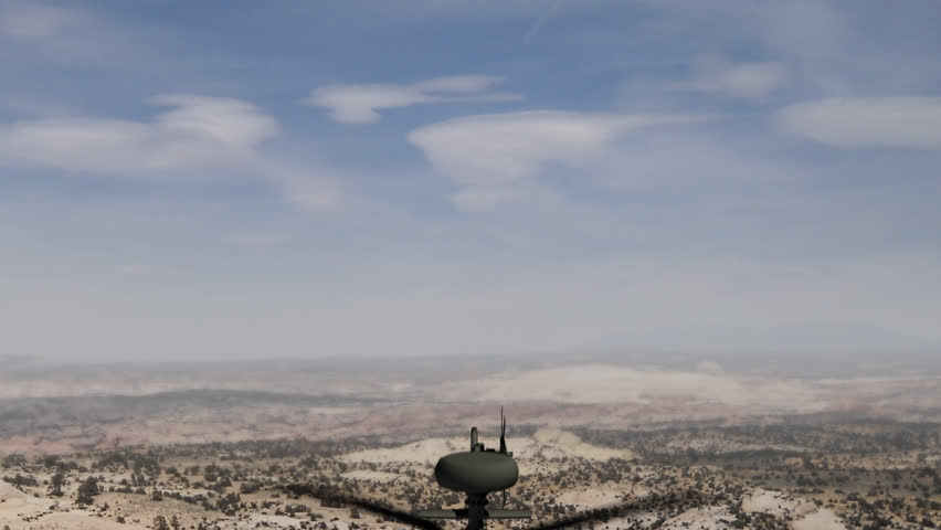 Animation of an Apache helicopter hovering in the sky. The helicopter flies from