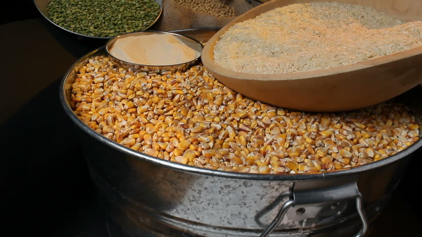 Flyover of a group of agricultural commodities, including rice, corn, sugar,