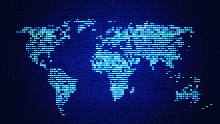 Digital world map seamles loop animation 4k blue color other color in my profile - Digital world hd ...