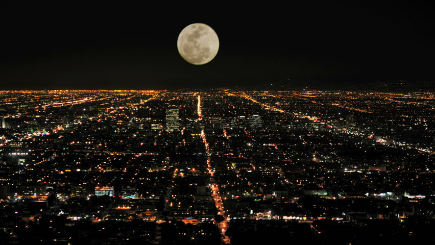 Time Lapse of Moon Rising over Los Angeles | Shutterstock HD Video #1127773