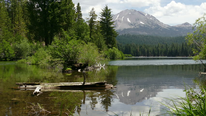 Manzanita Lake with Lassen Peak visible in the background at Lassen Volcanic National Park, in California, United States of America.