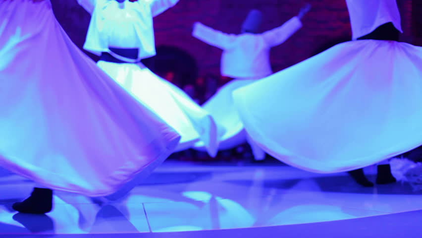 footage shot during a sema ceremony, of sufi dervish dancers - HD stock video clip