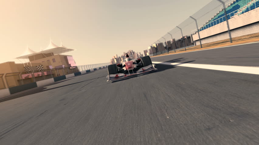 racecar speeding along the racetrack - frontal view - high quality 3d animation