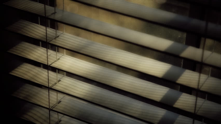 A man's shadowy hand lifts the slate of a window shade and then withdraws. - HD stock footage clip