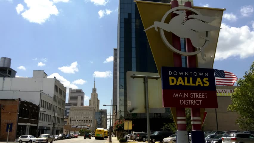 Dallas, Texas - August, 2015 - Sign of Downtown Dallas Mainstreet District.