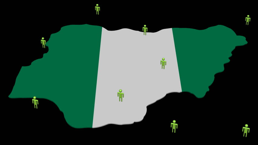 Nigeria map flag with many abstract people animation - HD stock video clip