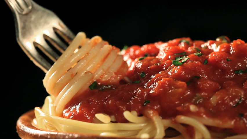 twisting fork with pasta and taking the  fork away - HD stock footage clip