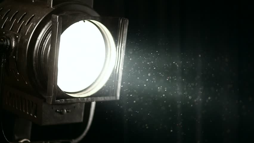 Vintage Theater Stage Spotlight With Fresnel Lens Slowly ...