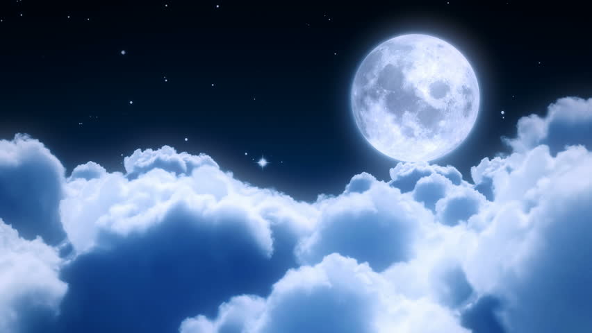 Flying over the clouds in the night with the moon seamless 3d