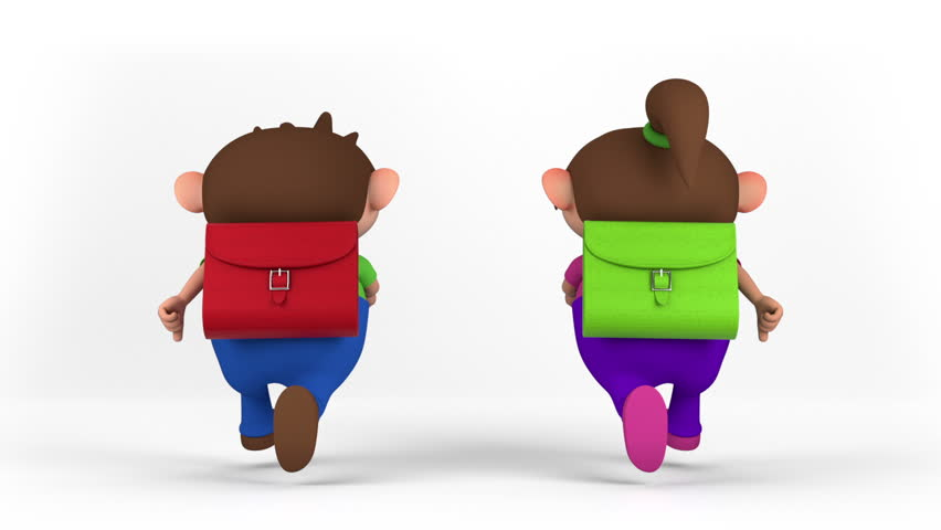 school kids with satchel running - back to school concept - high quality 3d animation