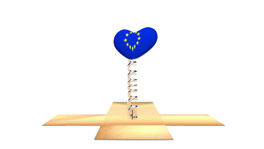 Cardboard box opens to reveal European Union (EU) flag on a heart, bouncing out in the style of a Jack in the Box.