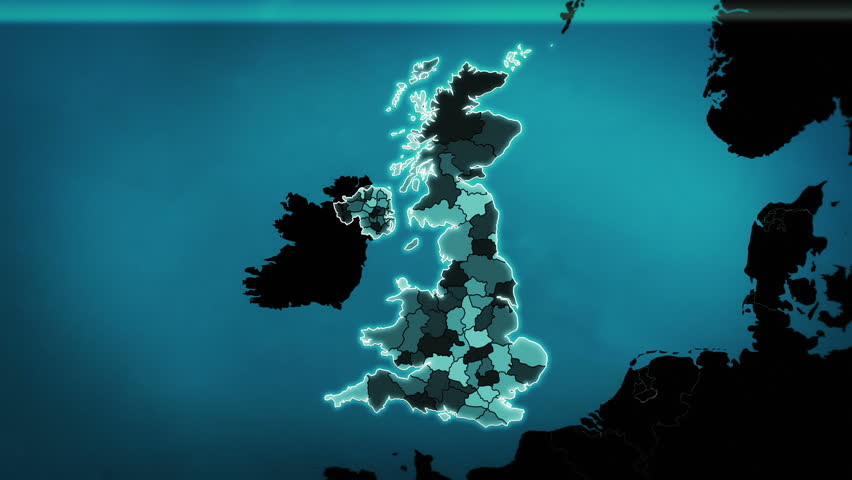 United Kingdom map with Administrative Units, Airports and Roads. Blue. This video is entirely loopable and also has 2 loopable sequences from frame 80 to 460 and from frame 461 to 804.