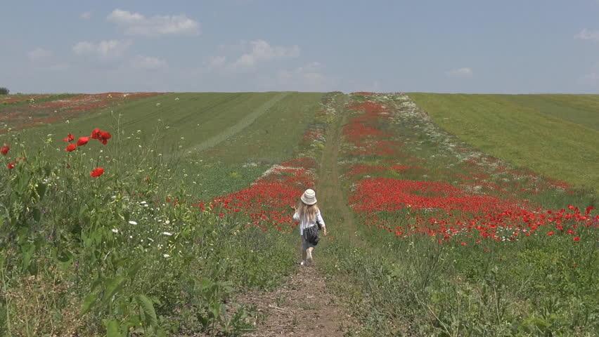 Happy Little Girl Walking Poppy Flowers Field Playing Children Summer Nature Outdoor