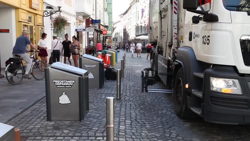 LJUBLJANA, SLOVENIA - AUGUST 31, 2015: Garbage underground collection point. Since 2013 the annual Waste Management Programme in Ljubljana is focused on reducing the quantity of waste.