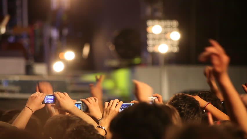 Crowd at rock concert - HD stock footage clip