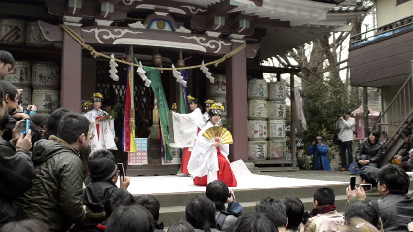 TOKYO - APRIL 03: Traditional religious dance at a shrine on April 03, 2011 in Kawasaki, Tokyo.  Most Japanese are Buddhist or Shintoist; About 91 million people in Japan claim to be Buddhist. - HD stock video clip