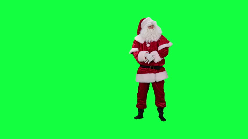 Santa Claus phone chroma key (green screen). Santa answers the phone call isolated on green